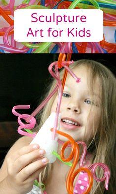 Styrofoam and Crazy Straws Sculpture Art for Kids