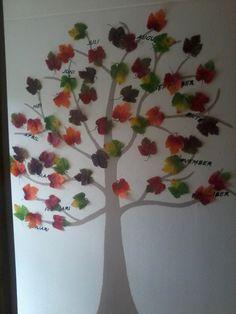 verjaardag boom op de muur in herfst sfeer House, Elementary Schools, Haus, Homes