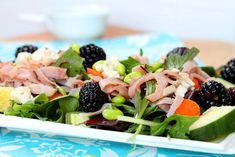 Blackberries and Blue Cheese Black Forest Ham Salad - a colorful summertime salad. Ham Salad Recipes, Grilled Cheese Recipes, Pork Recipes, Healthy Recipes, Summertime Salads, Blue Cheese Salad, Cranberry Cheese, Tasty Kitchen, Side Salad