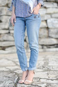LOFT boyfriend jeans with jewels and sandals | M Loves M