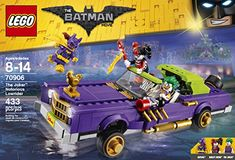 The Notorious Lowrider features a minifigure cockpit with stereo element, bouncing suspension function, opening trunk with hidden double spring-loaded shooters and storage space. Includes three minifigures: The Joker, Harley Quinn and Batgirl. Accessory elements include Harley Quinn's roller skates and Batgirl's cape. LEGO BATMAN MOVIE The Joker Notorious Lowrider 70906 toys4mykids.com