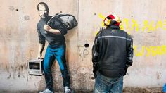 Banksy, Steve Jobs, the son of a migrant from Syria. Image courtesy of Banksy ART NEWS: Banksy illuminates the contribution of immigrants with Steve Jobs, Street Art Banksy, Banksy Graffiti, Banksy Work, Street Art Utopia, Bansky, Syrian Refugee Camps, Syrian Refugees, Steve Jobs Father, Apple Steve Jobs