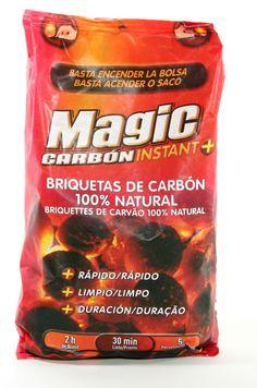 MAGIC CARBON Briquetas de carbón vegetal 1,6 kg +RAPIDO : Basta encender la bolsa +LIMPIO: Sin mancharse las manos +DURACION:2 horas de brasa para  5-6 personas PARA UNA BARBACOA    Rápida,Limpia y Segura