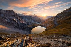 """""""Alpine Autumn Dusk"""" - Gufelsee - Lech Valley Alps - Austria  A pearl surrounded by majestic peaks. This is how I would call Lake Gufel. Bizarre shaped mountains has been my main goal to reach this wonderful view in the Austrian Lech Valley Alps. It was a wonderful climb up to 2.375m above sea level with my brother. We both felt the deep autumnal spirit as the sun dipped the whole landscape into reddish-brown colors. Descend at night again was a quite adventurous venture which I don´t want…"""