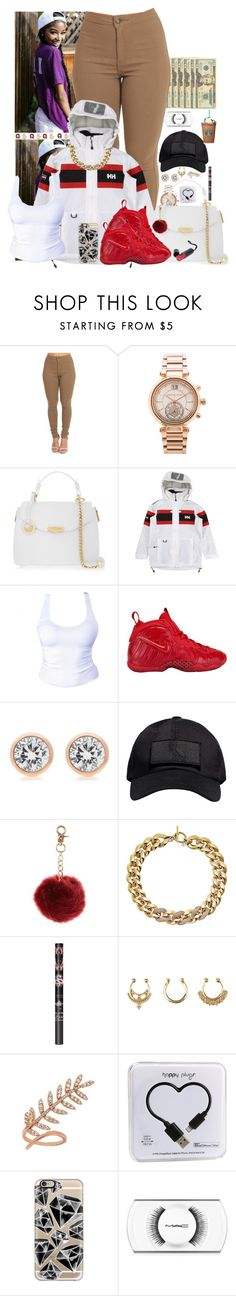 """""""😎💸💕 -Ka'loni"""" by og-bambii ❤ liked on Polyvore featuring OPTIONS, Michael Kors, Versace, Helly Hansen, NIKE, October's Very Own, New Look, Charlotte Russe, Alex Mika and Happy Plugs"""