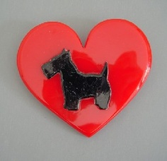 love -- heart dog -- black terrrier and red heart