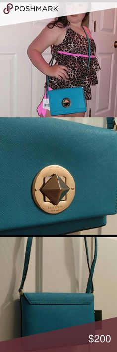 Beautiful Kate Spade NWT NWT..neon turquoise... gorgeous color...with Silverstone hardware Kate Spade Bags Crossbody Bags