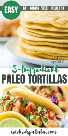 3 Ingredient Paleo Tortillas - A paleo tortilla recipe with just 3 INGREDIENTS! You won't believe how flexible and soft these paleo tortillas with coconut flour and tapioca flour are. wickedspatula tortillas dinner mexican via 34269647152004863 Paleo Casserole Recipes, Paleo Crockpot Recipes, Paleo Chicken Recipes, Mexican Food Recipes, Bread Recipes, Soup Recipes, Recipes Dinner, Vegetarian Recipes, Comidas Paleo