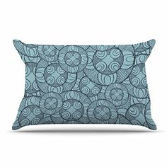 Kess InHouse Sylvia Coomes Autumn Trees 1 Green Orange Standard Pillow Case 30 by 20-Inch 30 X 20