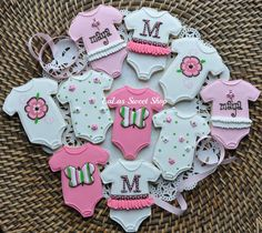 Baby onesies in pink, gray and white cookies LaLas Sweet Shop