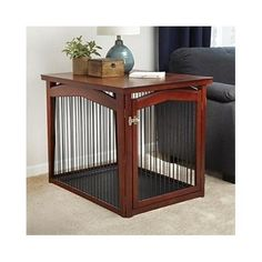 Convertible Dog Crate End Table Furniture Wood Puppy Kennel Pet House Cage Bed