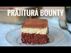 Prăjitură Bounty - Bounty Cake (Coconut Brownie Cake) English sub. Brownie Cake, Brownies, Bounty Cake, Food Cakes, Easy Cooking, Tiramisu, Cake Recipes, Coconut, English