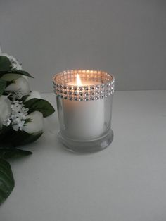 10 Wedding centerpiece, glass candle holder, rhinestone wedding candle holder. This can be use to light up your reception table , dinner party or just around the house. measure 4H and 3 1/2 D  ***candle not include*** This will match with any of my rhinestone collection