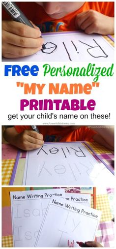 FREE Personalized My Name Tracing Printable