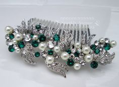 Pearl and Rhinestone Hair Piece Wedding Comb Bridal Hair Comb Emerald Swarovski Bridal Hair Wedding Comb Vintage Style Accessories Grace