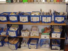 Classroom library shelves made out of milk crates, wooden boards ...