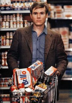 Warhol with Brillo pads shopping  Always kinda wondered what he looked like, never really cared enough to find out though, I bet he was going to draw a million brillo boxes in one picture...