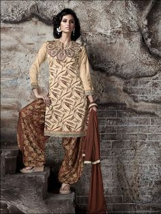 THANKAR EMBROIDERED #CREAM AND #BROWN #PATIYALA #STYLE SALWAR KAMEEZ  Contact Us: +91-7623989000 Email: support@thankar.com