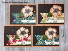 How to Make a Pretty and Elegant Card with Stampin' Up! Timeless Tropical Bundle (Stamping To Share) Appreciation Cards, Hand Stamped Cards, Travel Cards, Friendship Cards, Different Patterns, Thank You Gifts, Stamping, 3 D, Diy Crafts