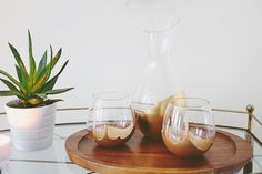 DIY Dipped Decanter and Glasses // FOXTAIL + MOSS