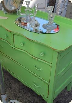 Art Twenty-Four Hour Salad painted-furniture-inspiration Green Distressed Furniture, Green Painted Furniture, Chalk Paint Furniture, Refurbished Furniture, Find Furniture, Furniture Makeover, Furniture Design, Dresser Makeovers, Antique Furniture