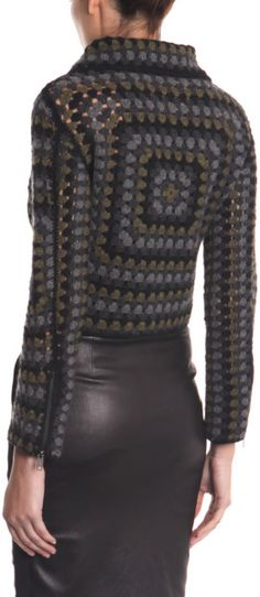 Christopher Kane Cashmere Crochet Jacket in Gray (grey) - Lyst
