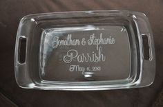 Personalized Etched Pyrex 9 x 13 Casserole Dish with Lid on Etsy, $33.00