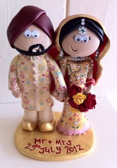 Handmade Personalised Indian Wedding Cake Topper Made To Look Like You In Any Outfits