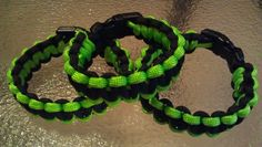Lime green and black paracord bracelet Etsy.com