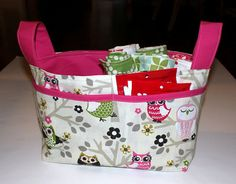 Pink and Green Owl Basket/ Diaper Caddy