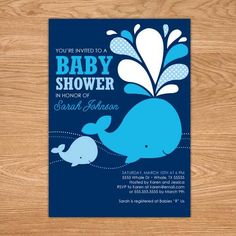 Blue Whale Baby Shower DIY Printable by stockberrystudio on Etsy, $10.00