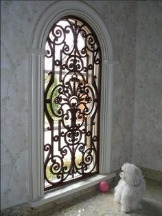 Faux Wrought Iron Arched Window Treatment Over Front Door Idea Not Quite So Ornate