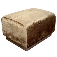 Modernist Luxe Python Velvet Ottoman in the Manner of Karl Springer | From a unique collection of antique and modern ottomans and poufs at http://www.1stdibs.com/furniture/seating/ottomans-poufs/