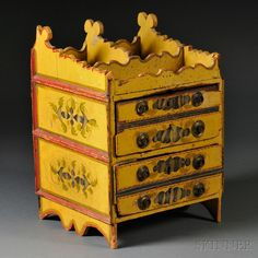 Classical Stencil and Paint Decorated  Yellow-painted Chest of Drawers, New England, c. 1840,