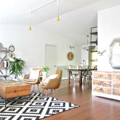 Lapplejung Ruta rug || Eclectic home || Open floor plan || Industrial shelves || Boho style  StyleMutt - Your Home Decor Resource For All Breeds Of Style