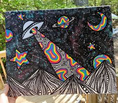 Psychedelic Drawings, Trippy Drawings, Art Drawings, Simple Canvas Paintings, Small Canvas Art, Easy Canvas Art, Mini Canvas Art, Hippie Painting, Trippy Painting