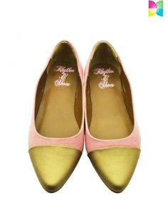 Zoya Chic Gold Ballerinas by Rhythm and Shoes