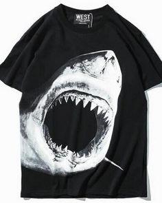 Big mouth shark t shirt for men black hip hop tee loose style