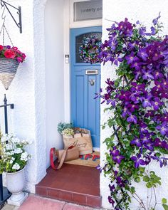"""Amy Davies Pereira on Instagram: """"Hi insta 👋 Hope everyone is ok... 🥰 Who's looking forward to the weekend? I can't wait for this gorgeous Clematis plant to flower outside…"""" Beautiful Front Doors, Black Front Doors, Painted Front Doors, Front Door Colors, Mediterranean Front Doors, Mediterranean Homes, Woodworking Ideas Table, Clematis Plants, Front Gardens"""