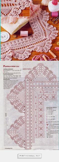 Crochet lace edging with points, shells and scallops ~~ As Receitas de Crochê: Barrado com canto para toalhas