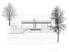 Entrancing Bungalow Design with Beautiful Landscape: Charming Lake House In Germany Elevation Sketch Plan Design