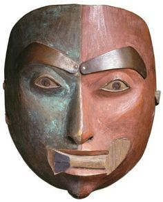 Tlingit shaman mask with copper details. Early 19th century. @cargocultist