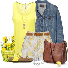 """Sunshiny Yellow"" by tammynky on Polyvore"