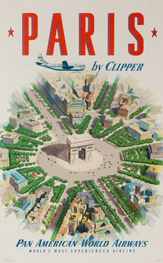 DP Vintage Posters - Paris By Clipper Pan American World Airways Original Travel Poster