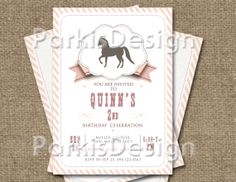 Horse Birthday Party Invitation  Digital/ by ParkisDesign on Etsy