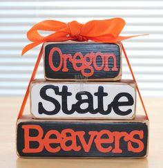 Oregon State Beavers Stackable Wood Blocks Set. $10.00, via Etsy.