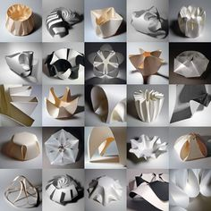 Richard Sweeney's collection of paper sculpture is really fascinating and beautiful. This image shows a selection of his 'Modular Forms in Paper'.