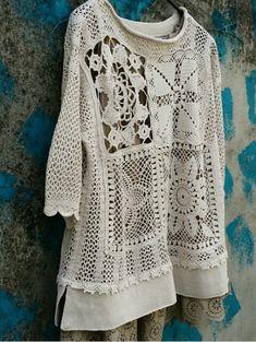 Crochet Squares, Crochet Granny, Love Crochet, Crochet Top, Différents Styles, Sewing Circles, Diy Clothing, Crochet Crafts, Hippie Boho