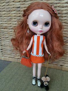 Custom Blythe dress Oh So Orange by Pinnigirl on Etsy