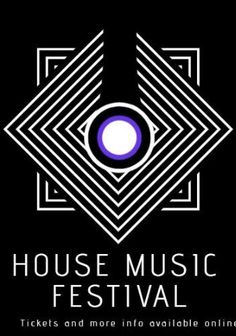 A dark background with an illustration of diamond and square shapes with white text displaying house music festival, tickets and more info available online.